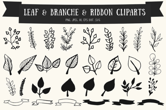 Print on Demand: 30+ Premium Handmade Leaves & Ribbon Gráfico Ilustraciones Por Creative Tacos