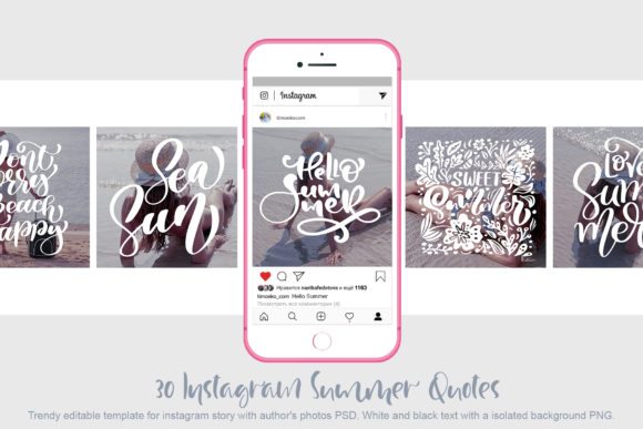 30 Template Instagram Summer Quotes Grafik Webseiten von Happy Letters