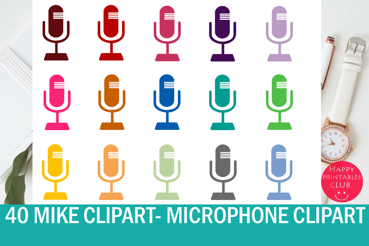 Download Free 40 Mike Clipart Microphone Clipart Set Graphic By Happy SVG Cut Files