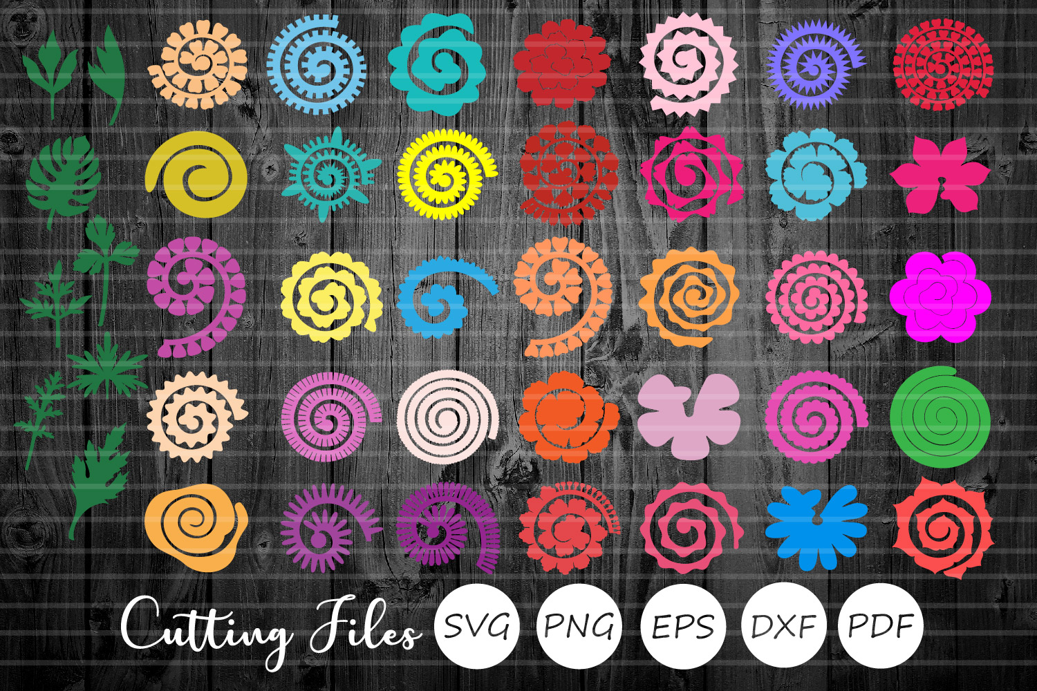 Download Free 43 Rolled Paper Flowers And Stems Graphic By Hd Art Workshop for Cricut Explore, Silhouette and other cutting machines.