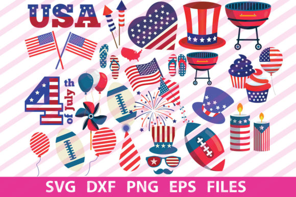 Print on Demand: 4th July Clipart Graphic Print Templates By svgbundle.net