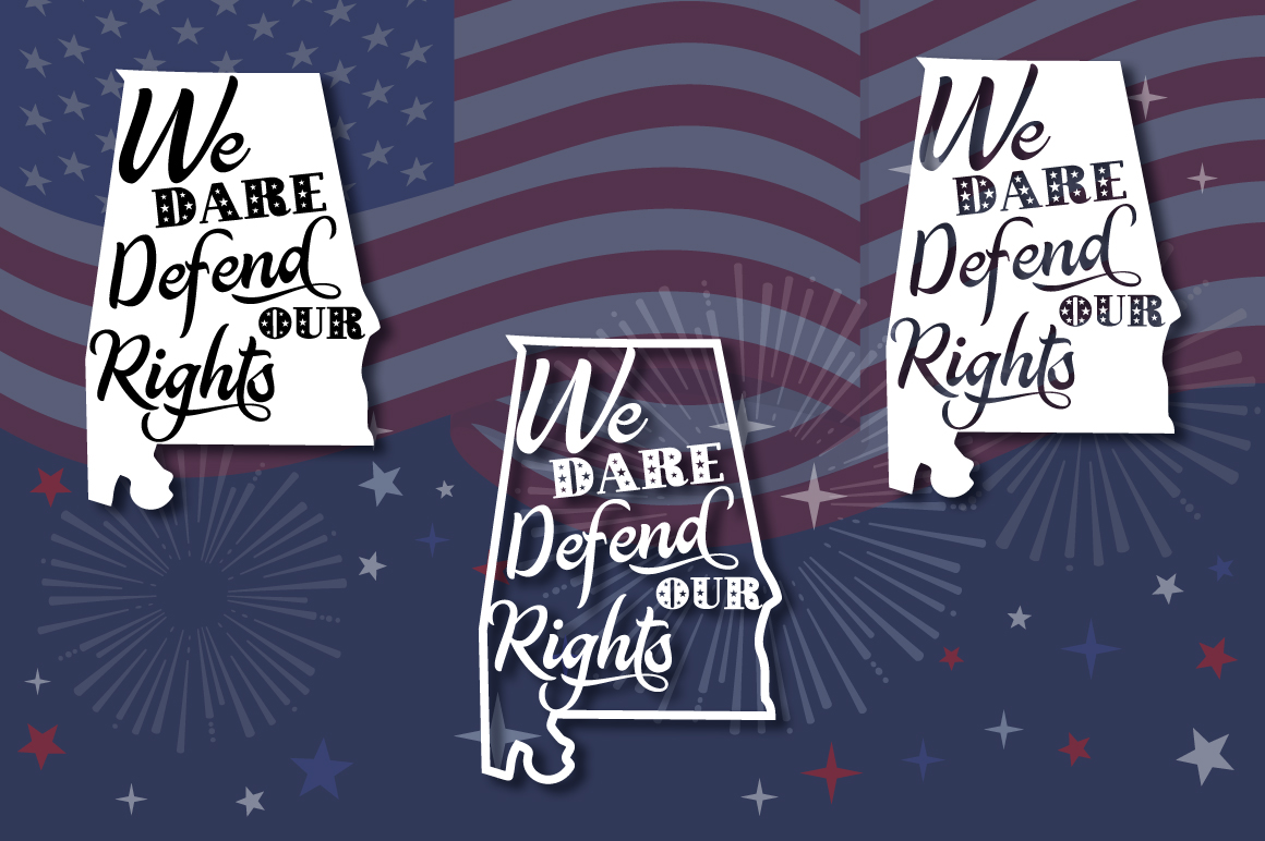 Download Free 4th Of July Alabama State Motto Svg Graphic By Anastasia Feya for Cricut Explore, Silhouette and other cutting machines.