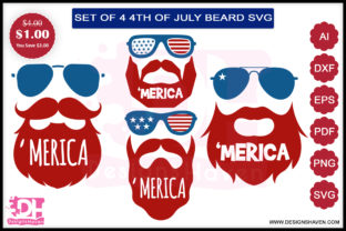 4th of July Beard Bundle Graphic By DesignsHavenLLC