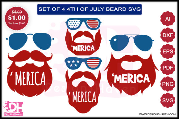 Print on Demand: 4th of July Beard Bundle Graphic Illustrations By DesignsHavenLLC