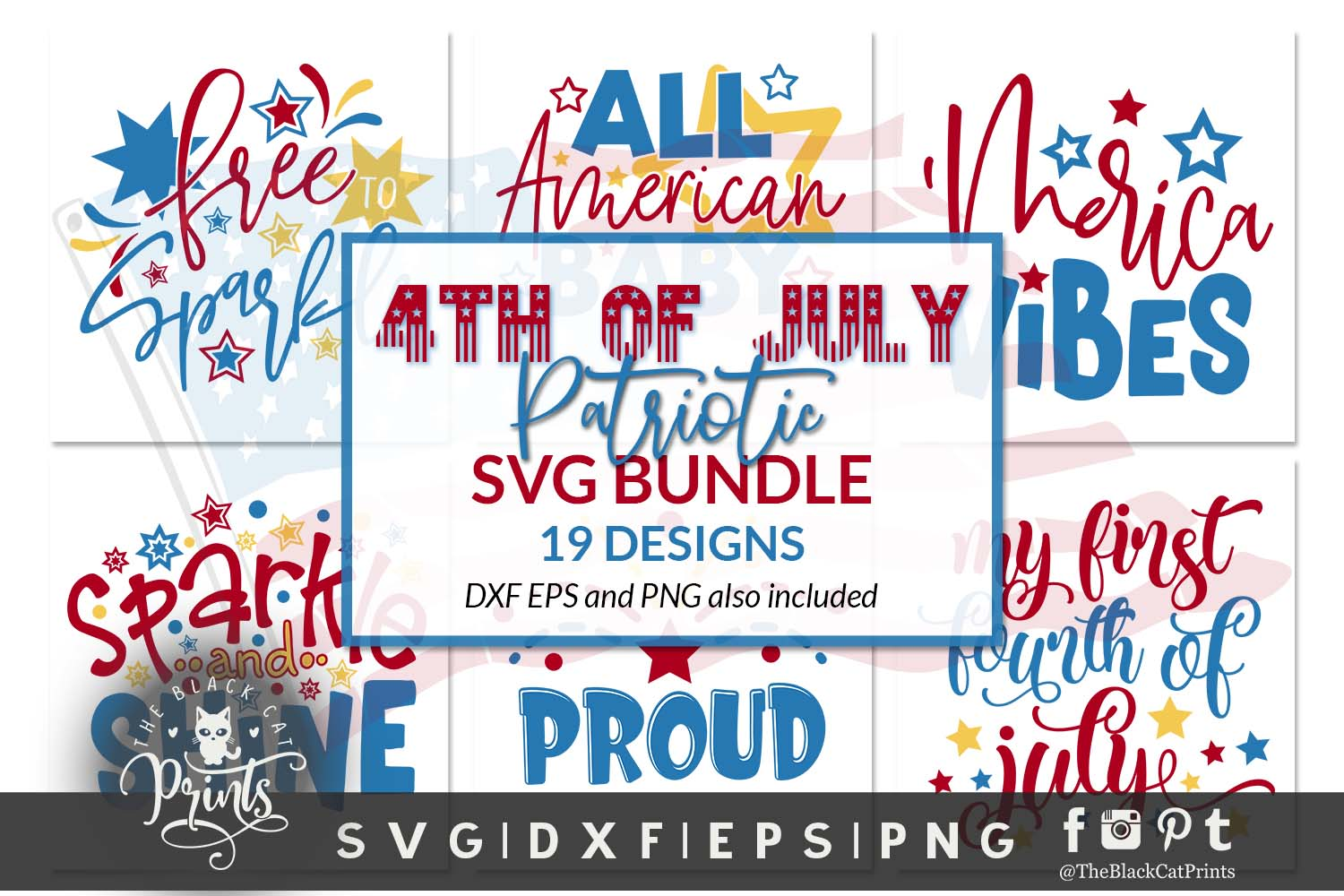 Download Free 4th Of July Bundle Graphic By Theblackcatprints Creative Fabrica for Cricut Explore, Silhouette and other cutting machines.