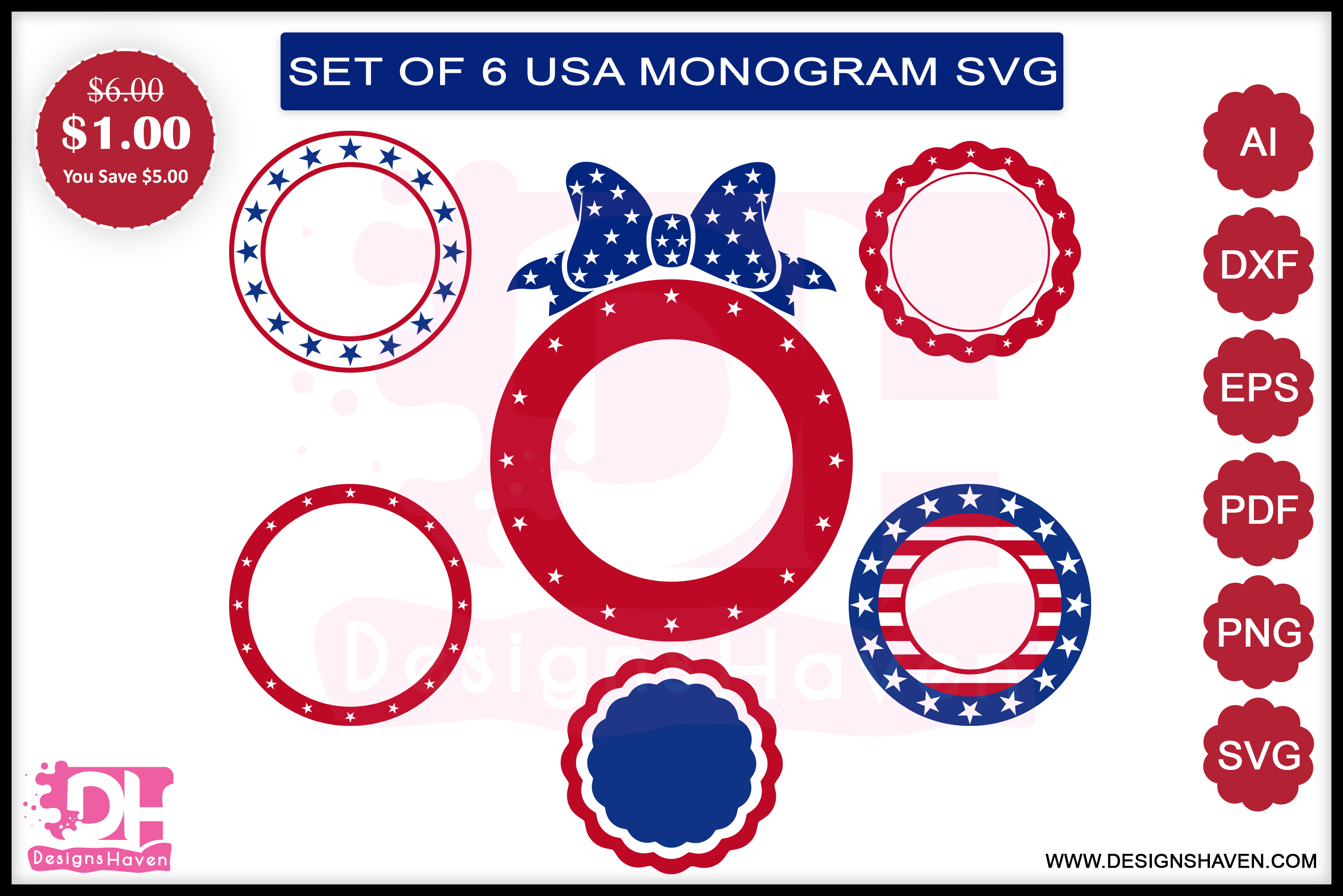 4th of July Monogram Svg, Eps, Png, Dxf