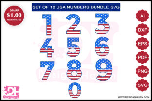 4th of July Numbers Svg, Eps, Png, Dxf Graphic By DesignsHavenLLC