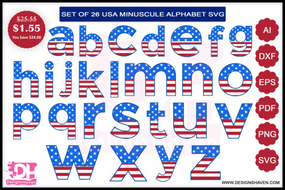 Print on Demand: 4th of July Small a to Z Letters Svg Graphic Illustrations By DesignsHavenLLC