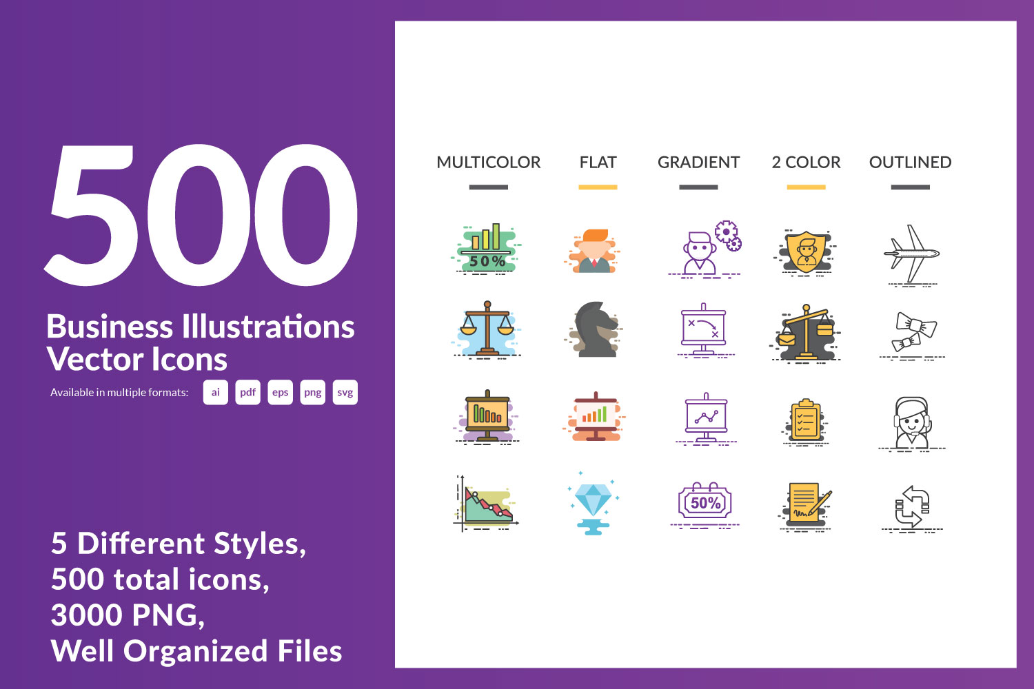 Download Free 500 Business Illustrations Vector Icons Graphic By Dendysign for Cricut Explore, Silhouette and other cutting machines.