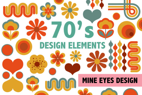 Print on Demand: 70's Design Elements Graphic Illustrations By Mine Eyes Design