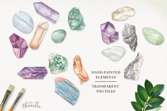 75 Crystals and Gemstones Set Watercolor Graphic By Bloomella Image 2