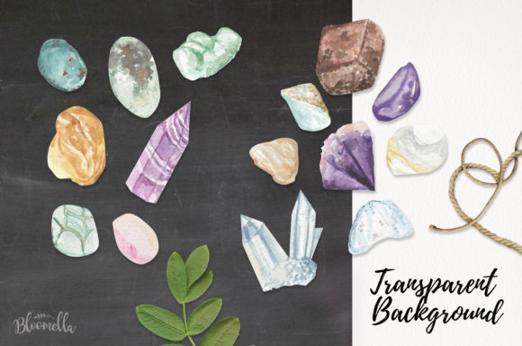 75 Crystals and Gemstones Set Watercolor Graphic By Bloomella Image 3
