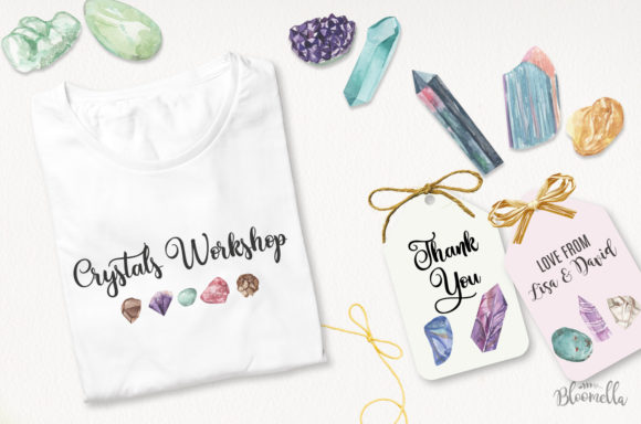 75 Crystals and Gemstones Set Watercolor Graphic By Bloomella Image 5