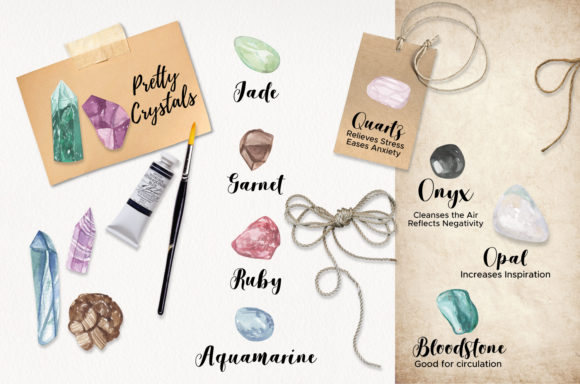 75 Crystals and Gemstones Set Watercolor Graphic By Bloomella Image 6