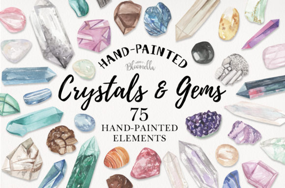 75 Crystals and Gemstones Set Watercolor Graphic Illustrations By Bloomella