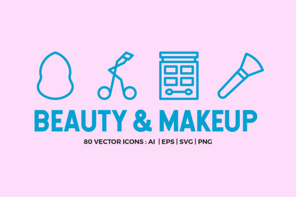 80 Beauty & Makeup Line Icons Graphic Icons By abstractocreate