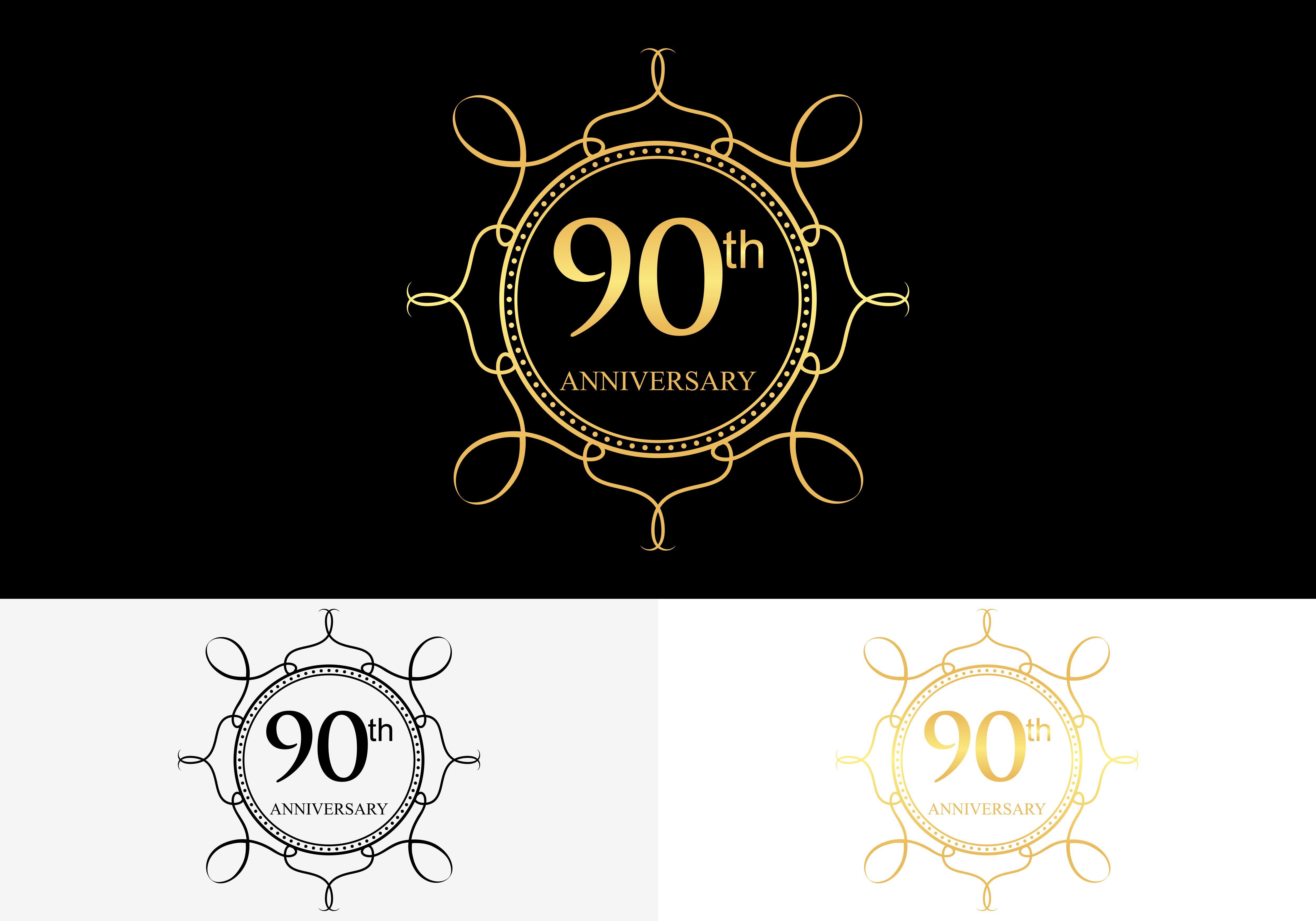 Download Free 90th 90 Year Anniversary Celebration Graphic By 2qnah for Cricut Explore, Silhouette and other cutting machines.