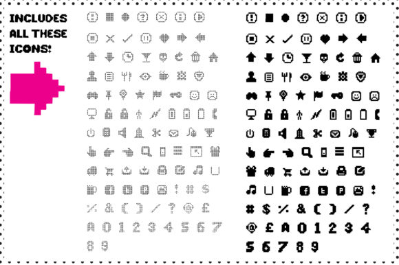 92 Pixel Icons Plus Numbers Graphic By Graphicsbam Fonts