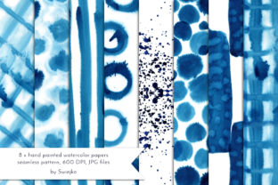 Print on Demand: Abstract Watercolor Background Indigo Graphic Illustrations By swiejko