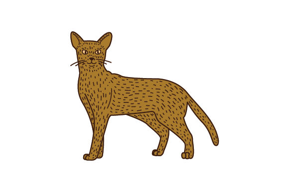 Download Free Abyssinian Cat Sitting Up Line Art And Color Svg Cut File By for Cricut Explore, Silhouette and other cutting machines.