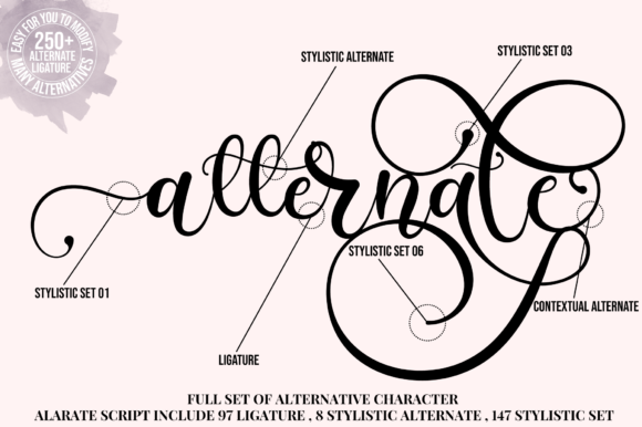 Print on Demand: Alarate Script Script & Handwritten Font By Fallengraphic - Image 2