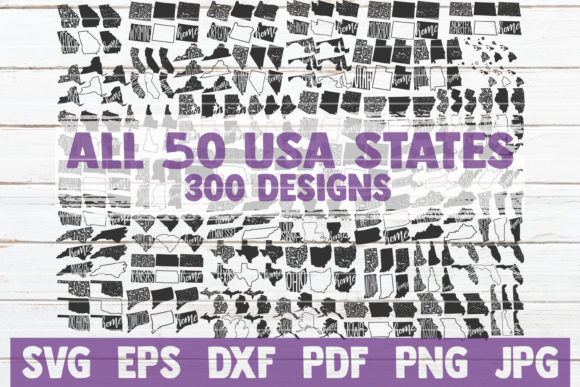 All 50 USA States SVG Bundle | Cut Files Gráfico Plantillas Gráficas Por MintyMarshmallows