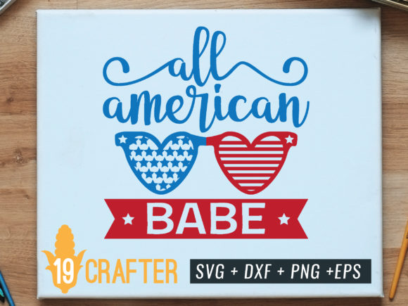 Print on Demand: All American Babe with Heart Shape Glass Graphic Crafts By great19