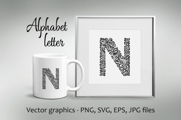 Print on Demand: Alphabet Letter N Graphic Crafts By Eva Barabasne Olasz - Image 1
