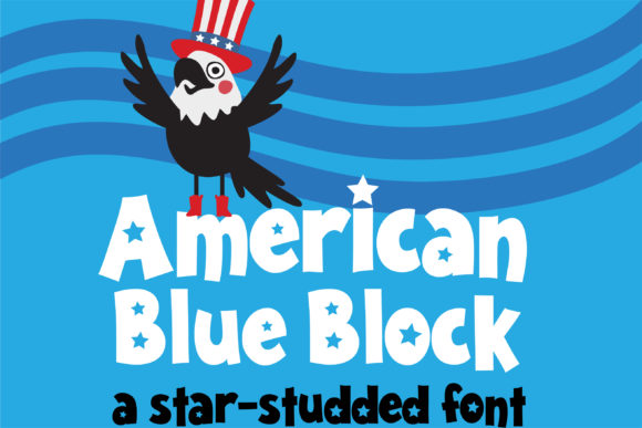 Print on Demand: American Blue Block Sans Serif Font By Illustration Ink