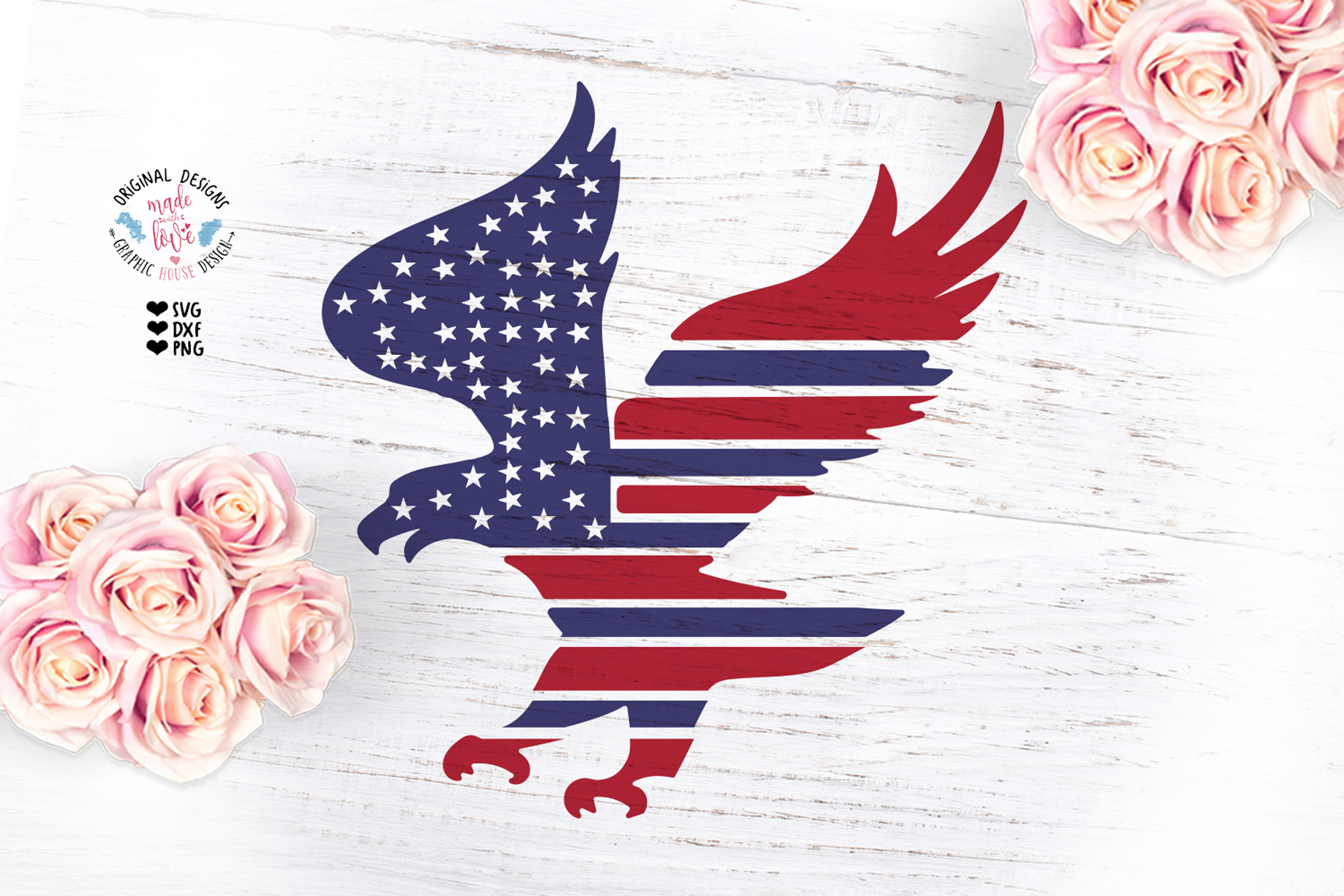 Download Free American Flag Eagle Design Graphic By Graphichousedesign for Cricut Explore, Silhouette and other cutting machines.