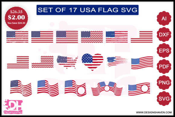 Print on Demand: American Flag Svg, Eps, Png, Dxf, Pdf Graphic Print Templates By DesignsHavenLLC