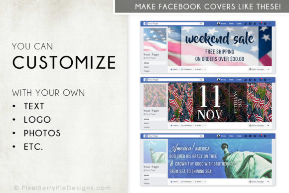 Print on Demand: American Patriotic Facebook Cover Bundle Graphic Graphic Templates By Pixel Berry Pie Designs - Image 3