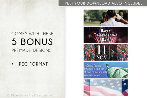 Print on Demand: American Patriotic Facebook Cover Bundle Graphic Graphic Templates By Pixel Berry Pie Designs - Image 4