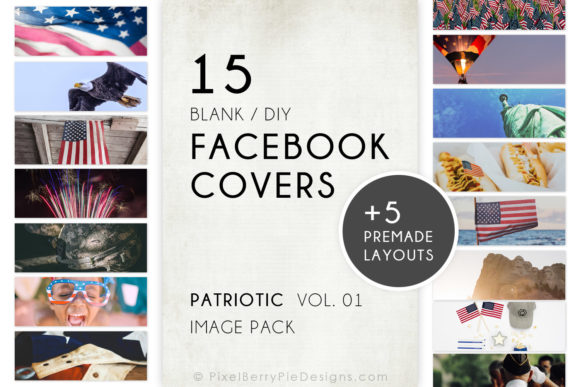 Print on Demand: American Patriotic Facebook Cover Bundle Graphic Graphic Templates By Pixel Berry Pie Designs