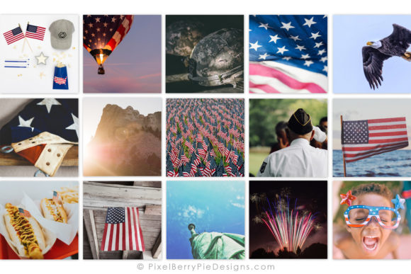Print on Demand: American Patriotic Instagram Photo Pack Graphic Graphic Templates By Pixel Berry Pie Designs - Image 2