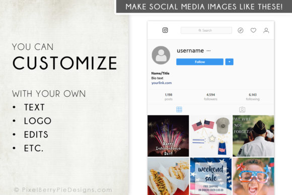Print on Demand: American Patriotic Instagram Photo Pack Graphic Graphic Templates By Pixel Berry Pie Designs - Image 3