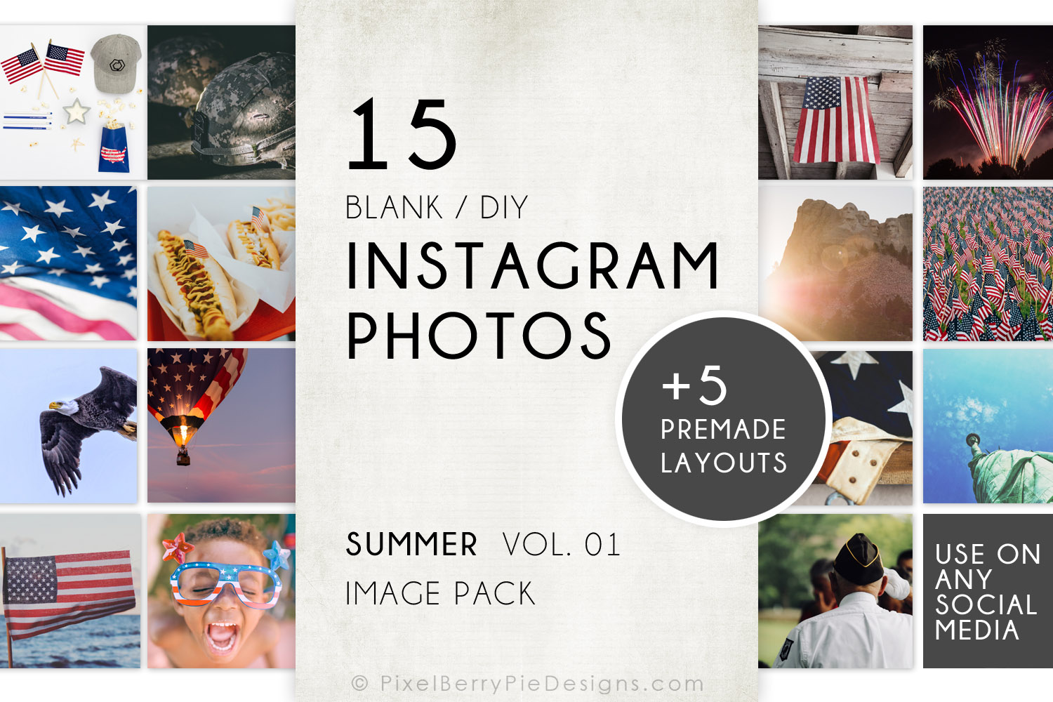 Download Free American Patriotic Instagram Photo Pack Graphic By Pixel Berry for Cricut Explore, Silhouette and other cutting machines.