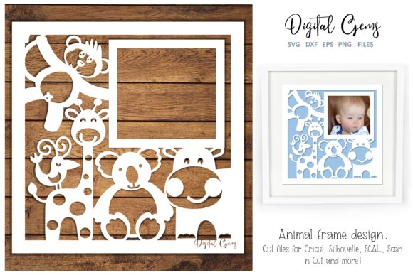 Download Free Animal Frame Paper Cut Design Graphic By Digital Gems Creative for Cricut Explore, Silhouette and other cutting machines.