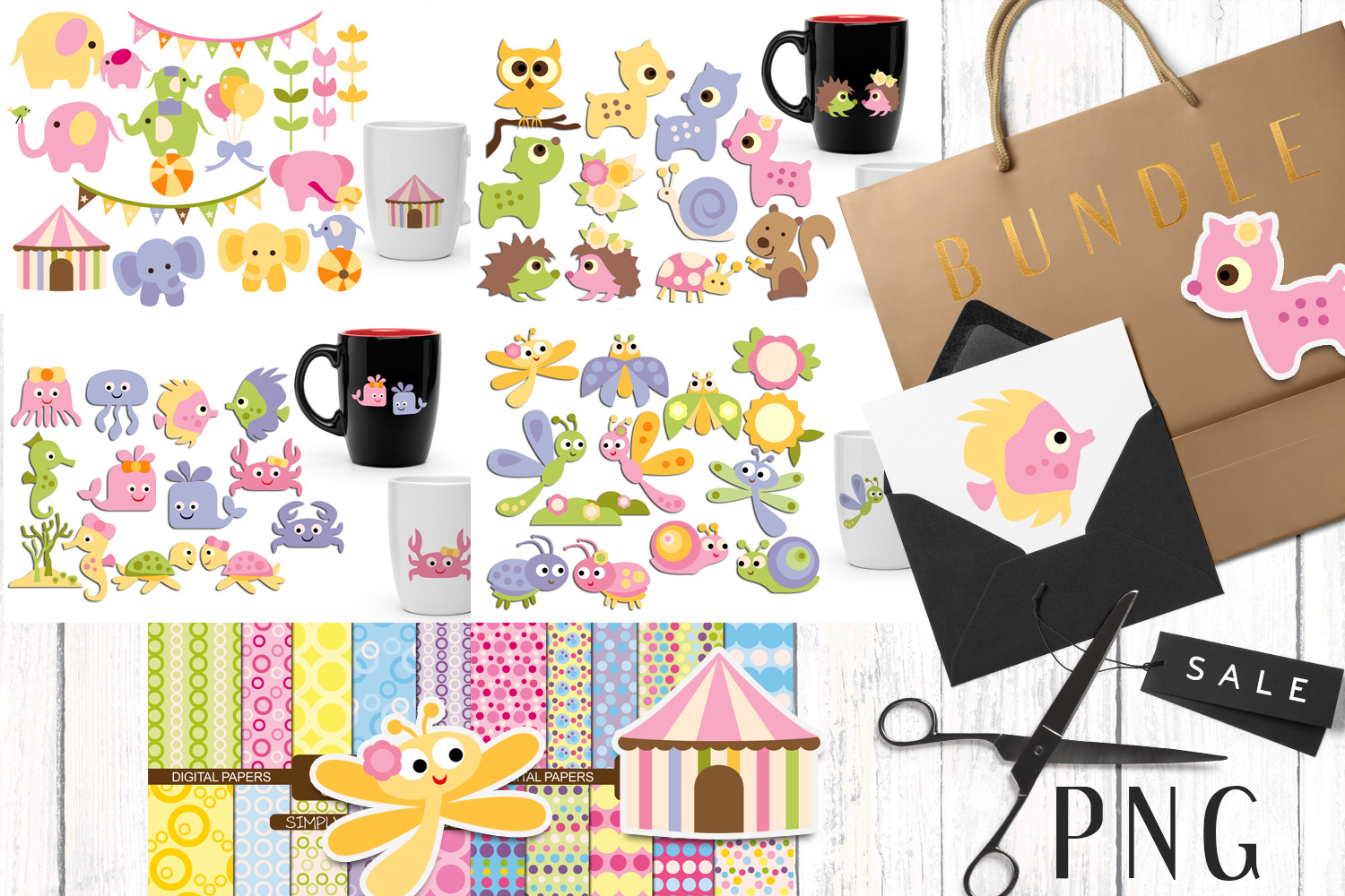 Download Free Animals Bundle Graphic By Revidevi Creative Fabrica for Cricut Explore, Silhouette and other cutting machines.