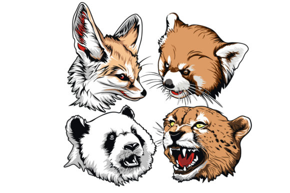Print on Demand: Animals-Head-design-for-embroidery Graphic Illustrations By PakpahanMarg