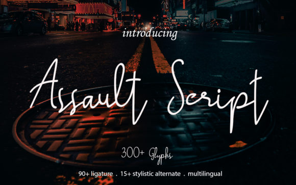 Print on Demand: Assault Script Script & Handwritten Font By die.miftah21