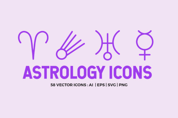 Astrology Symbols | Line Icon Pack Graphic By abstractocreate Image 1