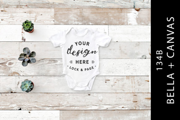 Baby 134B Bella Canvas Romper Suit Mock Graphic Product Mockups By lockandpage