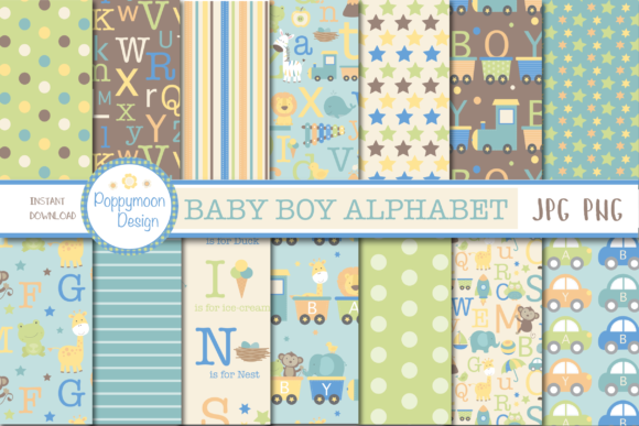 Print on Demand: Baby Boy Alphabet Paper Graphic Patterns By poppymoondesign