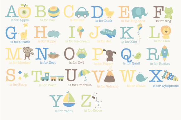 Download Free Baby Boy Alphabet Graphic By Poppymoondesign Creative Fabrica for Cricut Explore, Silhouette and other cutting machines.