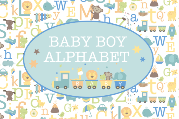 Print on Demand: Baby Boy Alphabet Gráfico Ilustraciones Por poppymoondesign