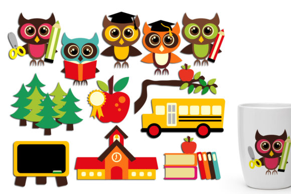 Print on Demand: Back to School Owls Graphic Illustrations By Revidevi