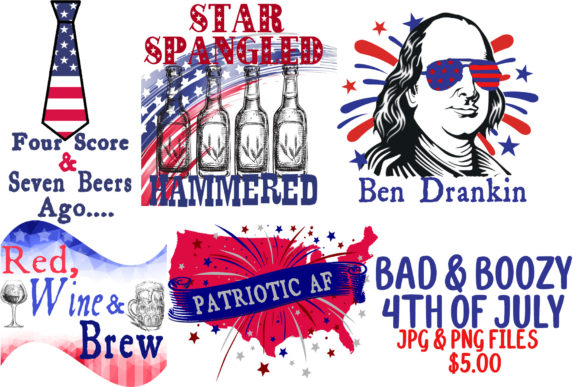 Bad & Boozy 4th of July Graphic Illustrations By BellaUniquePrintique