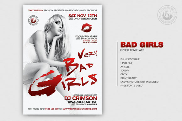 Bad Girls Flyer Template Graphic By ThatsDesignStore Image 2