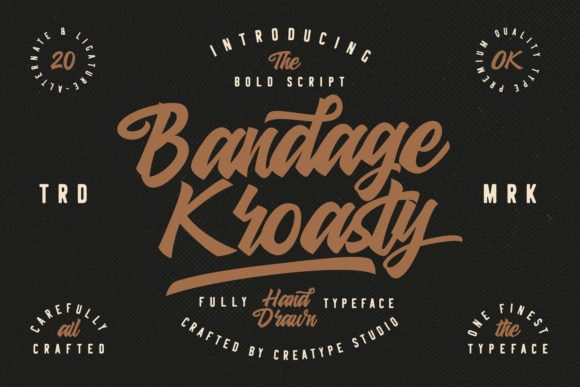 Print on Demand: Bandage Kroasty Script Script & Handwritten Font By CreatypeStudio